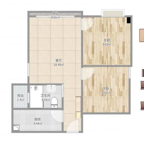 富力天朗明居2室1厅1卫1厨59.00㎡户型图