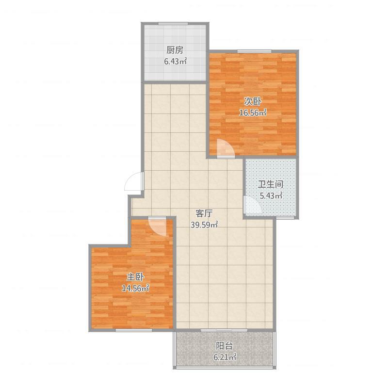 定兴-国际城-7、8号楼户型二室二厅一卫-101.82㎡
