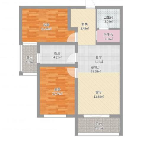 鹿城一号2室2厅1卫1厨83.00㎡户型图