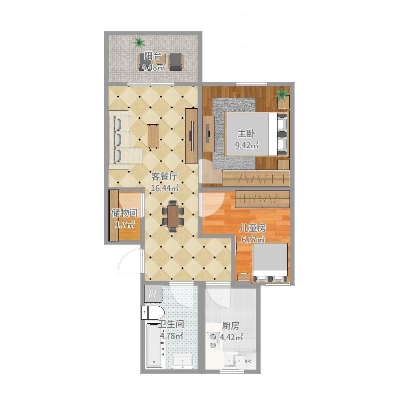 夏东苑90平两室一厅