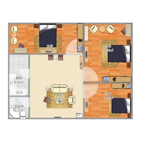 宝山三村3室1厅1卫1厨121.00㎡户型图