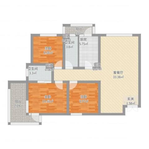 锦绣大地城一期3室2厅2卫1厨123.00㎡户型图