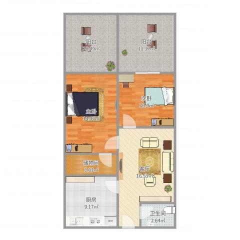 金杨六街坊2室1厅1卫1厨98.00㎡户型图