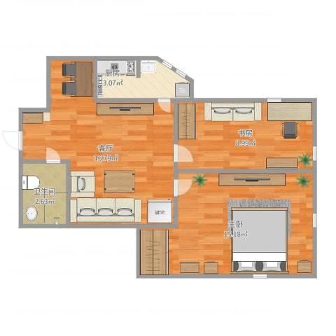 迎水南里2室1厅1卫1厨63.00㎡户型图