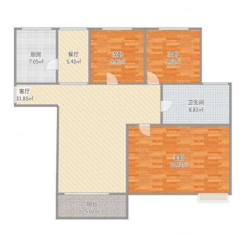 爱庐世纪新苑3室2厅1卫1厨134.00㎡户型图