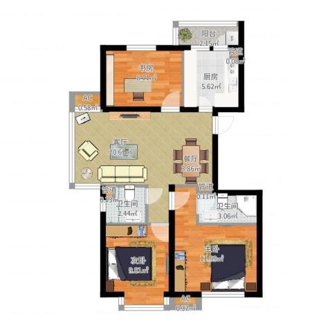 丽水丁香园3室1厅2卫1厨80.00㎡户型图