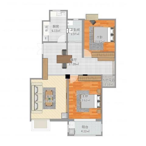 河滨花园2室2厅2卫1厨89.00㎡户型图