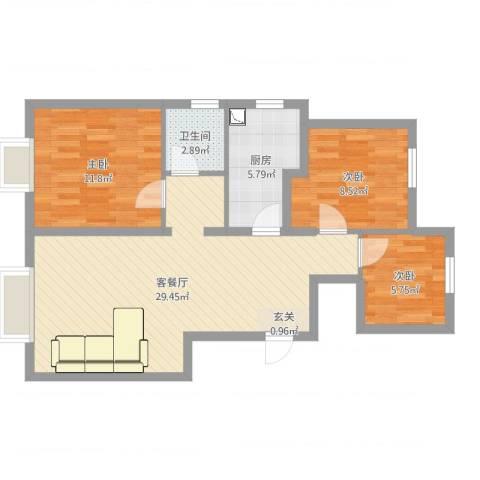 东丽湖万科城鹭湖3室2厅1卫1厨90.00㎡户型图