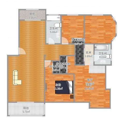 蓝天城市花园1室1厅2卫1厨139.00㎡户型图