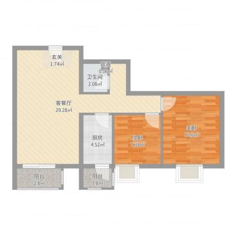加州水郡西区2室2厅2卫1厨76.00㎡户型图