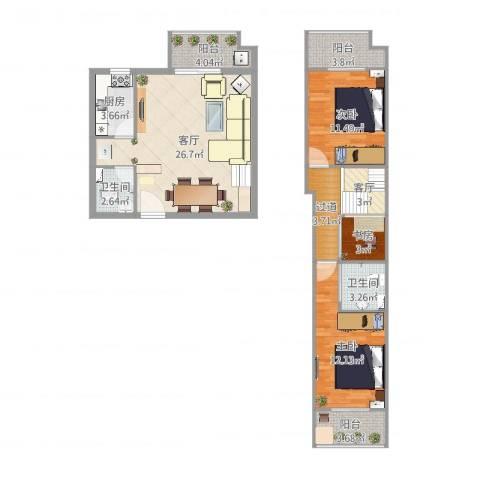 君城紫金城17-1-17063室2厅2卫1厨101.00㎡户型图