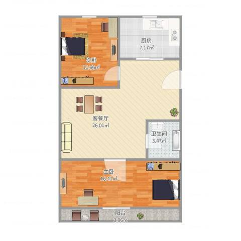 芳华路268弄小区2室2厅1卫1厨93.00㎡户型图