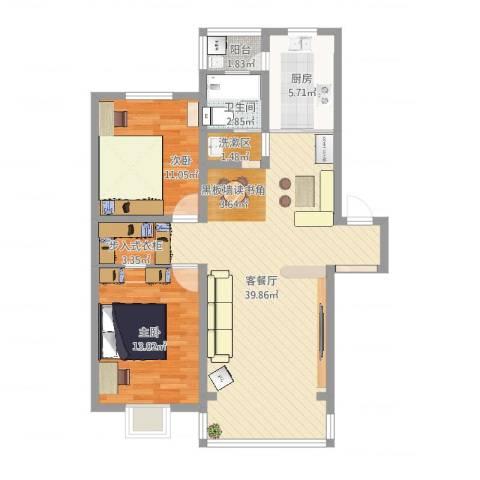 千秋嘉苑2室2厅1卫1厨95.00㎡户型图