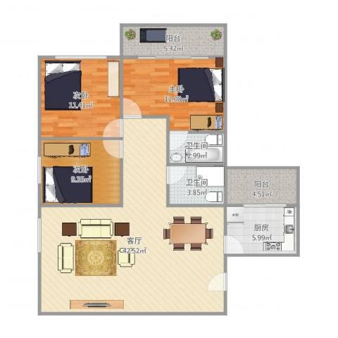 海印花园3室1厅2卫1厨123.00㎡户型图