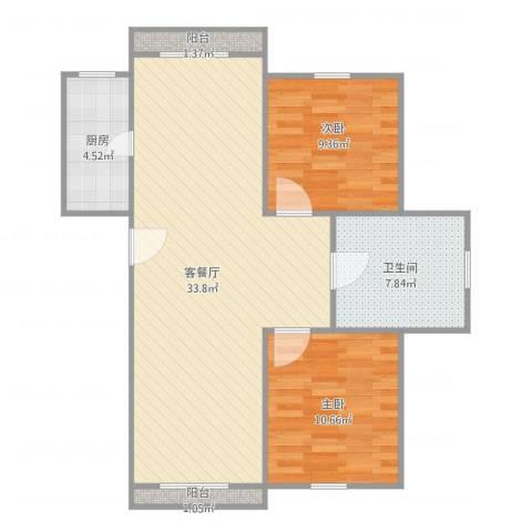 而风格GV分v2室2厅1卫1厨92.00㎡户型图