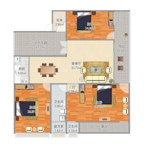 自建房3室4厅2卫1厨186.00㎡户型图