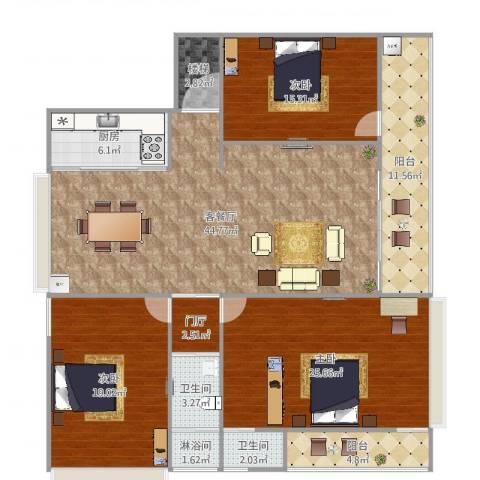 自建房3室2厅2卫1厨174.00㎡户型图