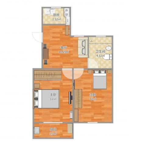 泗塘五村2室1厅1卫1厨56.00㎡户型图