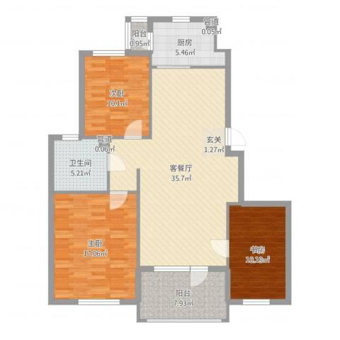 海创半山壹号3室2厅1卫1厨116.00㎡户型图