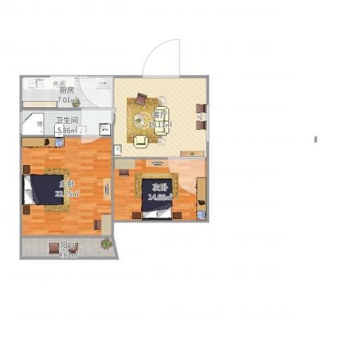清涧八街坊2室1厅1卫1厨99.00㎡户型图