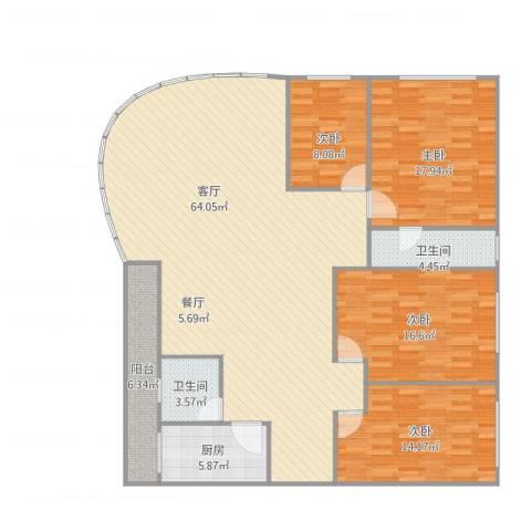 汇银城市花园4室1厅2卫1厨188.00㎡户型图