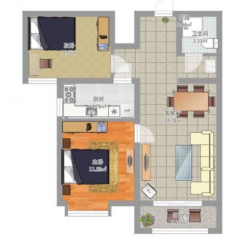 七里河・佳洲美地2室2厅1卫1厨70.00㎡户型图