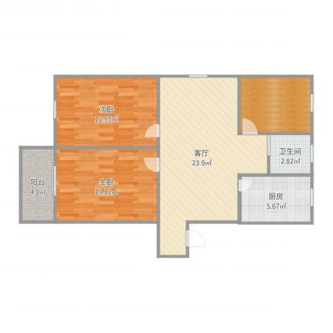 友联二村2室1厅1卫1厨86.00㎡户型图