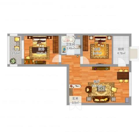 金河湾2室1厅1卫1厨70.00㎡户型图