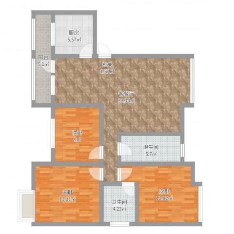 永川金域蓝湾二期3室2厅2卫1厨111.00㎡户型图