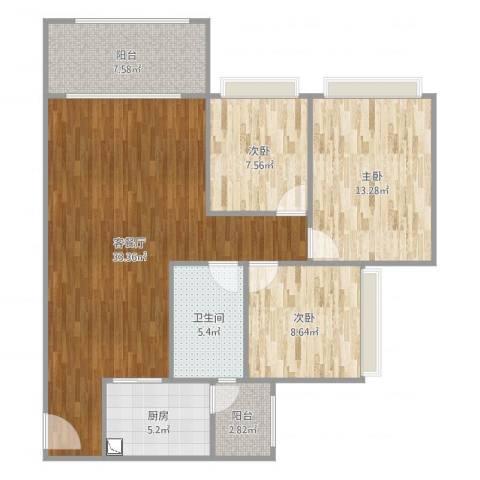 恒安世纪花城1073室2厅1卫1厨105.00㎡户型图