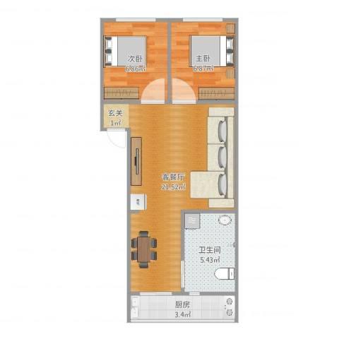 南湖职工新村2室2厅1卫1厨55.00㎡户型图