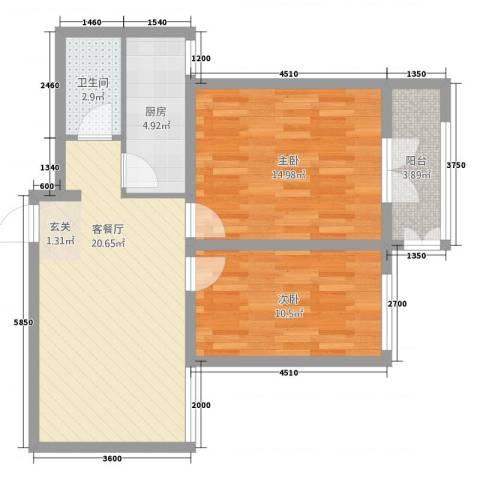 泰安盛世郡2室2厅1卫1厨67.00㎡户型图
