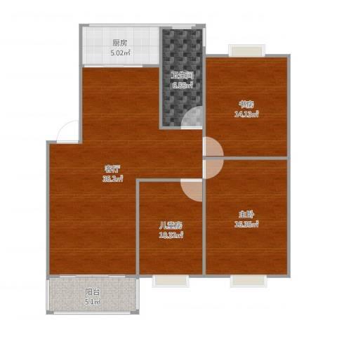 金都花好悦园3室1厅1卫1厨116.00㎡户型图