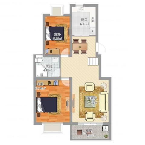 生活新境2室2厅1卫1厨93.00㎡户型图