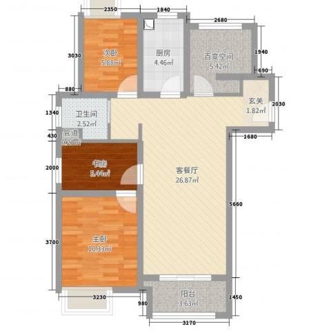 万科VC小镇3室2厅1卫1厨95.00㎡户型图