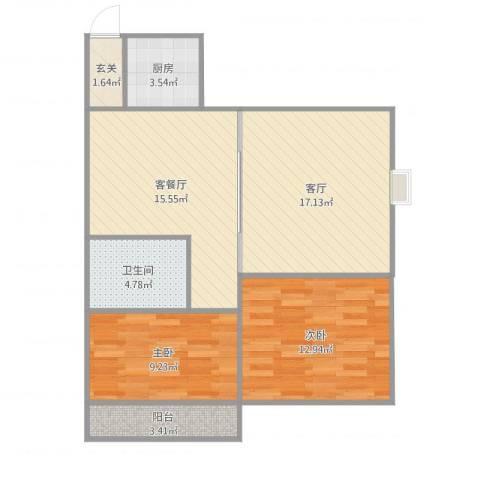 腾达新城2室3厅1卫1厨92.00㎡户型图