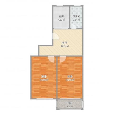 马鞍山路小区2室1厅1卫1厨66.00㎡户型图
