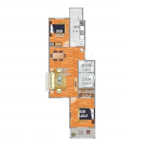 翠屏北里西区2室3厅1卫1厨84.00㎡户型图