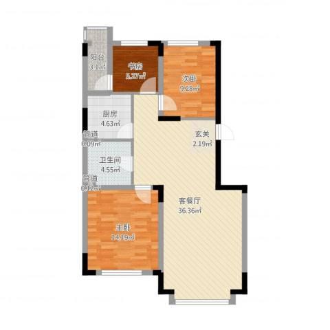 东方万达城3室2厅1卫1厨97.00㎡户型图