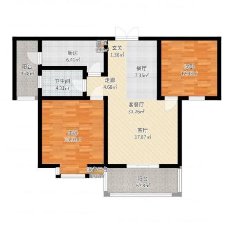 大地之歌2室2厅1卫1厨104.00㎡户型图