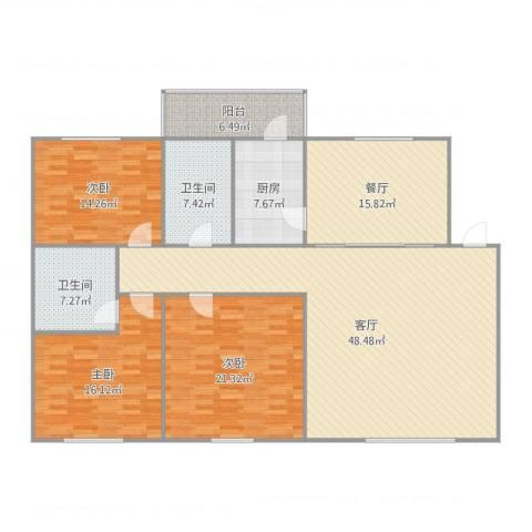 三隆世纪城3室2厅2卫1厨181.00㎡户型图