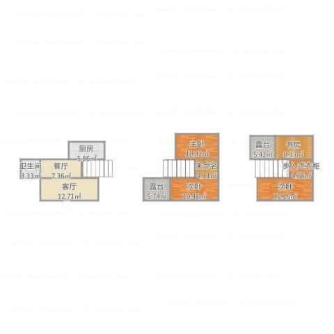 康馨花园3室2厅1卫1厨123.00㎡户型图