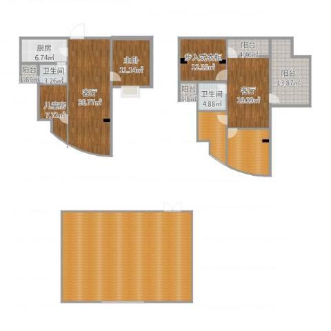 金辉融侨半岛云满庭B区2室2厅4卫1厨265.00㎡户型图