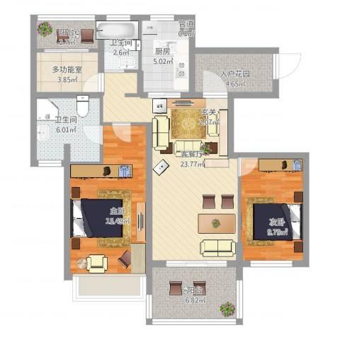 万科金色水岸2室2厅2卫1厨117.00㎡户型图