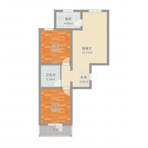 御�华府2室2厅1卫1厨96.00㎡户型图