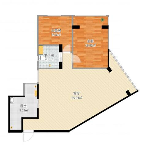 锦海大厦2室1厅1卫1厨104.00㎡户型图