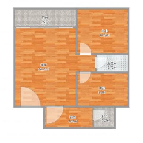 金沙新城2室1厅1卫1厨84.00㎡户型图