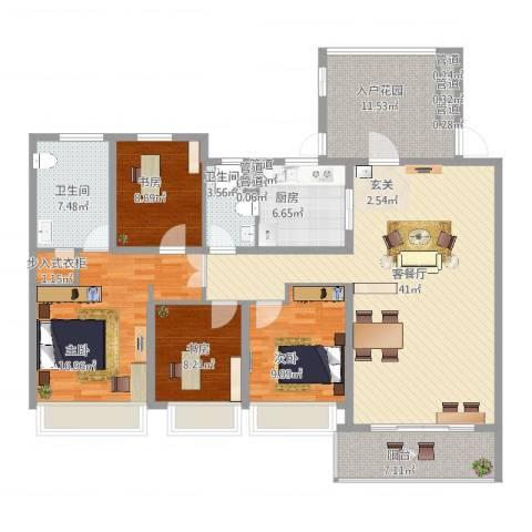 万科金色水岸4室2厅2卫1厨175.00㎡户型图