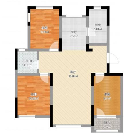 绿地卢浮公馆3室1厅1卫1厨95.00㎡户型图