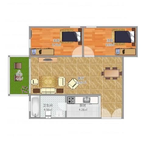 周门小区2室1厅1卫1厨69.00㎡户型图